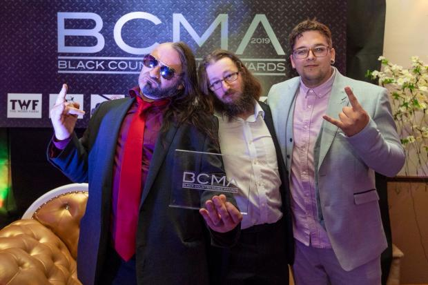 Dudley News: WEAK13 frontman Nick J Townsend, with bass player Wesley Smith and drummer Justin James, who appeared in the video, at the awards ceremony