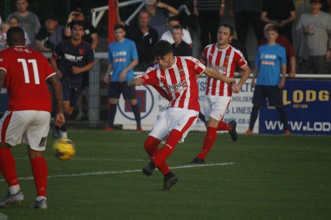 Kieran Cook netted a hat-trick against Harriers. Photo by Andrew Roper