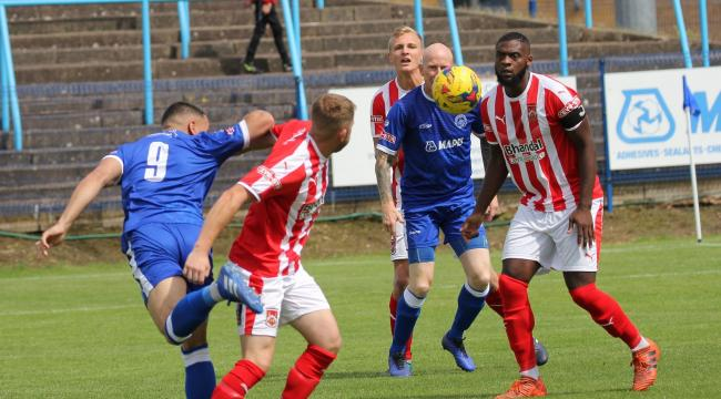 Strike duo Lee Hughes and Montel Gibson in action against Stourbridge. Photo from Halesowen Town