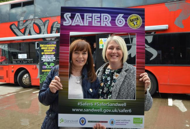 Pictured: Councillor Maria Crompton, Sandwell Council's cabinet member for safer communities, and Oldbury town chair Councillor Sharon Davies