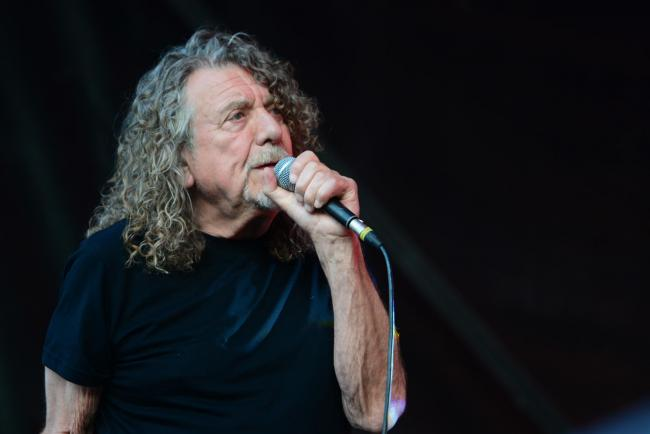 Robert Plant pictured performing with Saving Grace at the Rhythm Tree Festival 2019