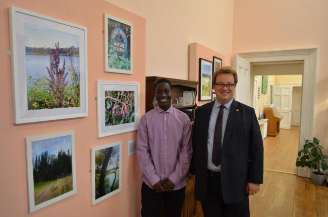 Alan Momori with Mike Wood MP at the photography exhibition at Himley Hall.