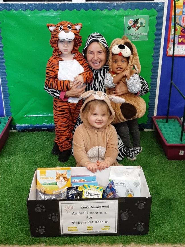 Rowley Village Day Nursery youngsters Ralph Webster (age 3) Tracey Moreton (Nursery Nurse) Aaryah Shand (age 1) and Olivia Tully (age 3)