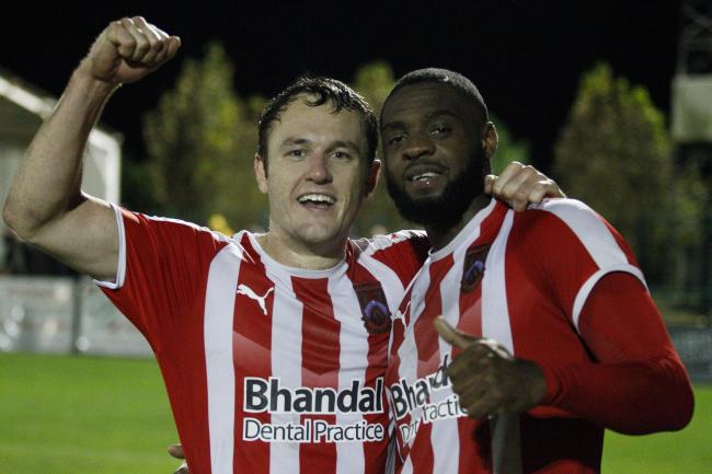 Dave Bellis and Jordaan Brown celebrate the previous round win against Whitby. Photo by Andrew Roper