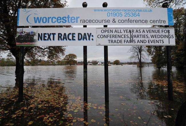 Pitchcroft Racecourse in Worcester was flooded again as the River Severn caused problems across Worcestershire. Pic Jonathan Barry 15.11.19.
