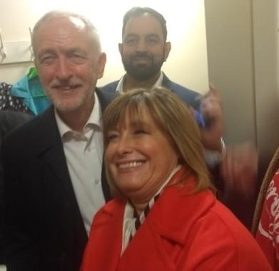 Jeremy Corbyn with Dudley North Labour candidate Melanie Dudley.