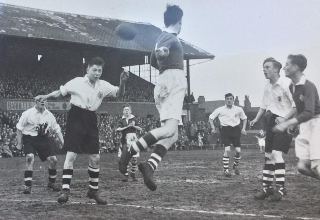 Duncan Edwards in action for England Schoolboys in 1950. Photo: Duncan Edwards Trust.