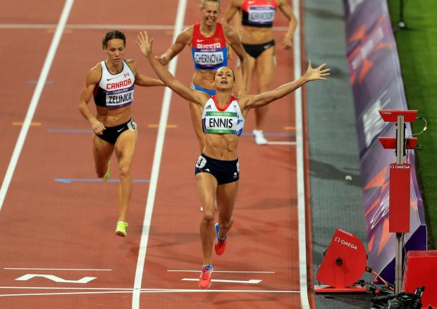 Dudley News: GOLD: Great Britain's Jessica Ennis celebrates winning the Heptathlon, after the 800m event during day eight of the London 2012 Olympic Games at the Olympic Stadium, London. Picture: PA Wire