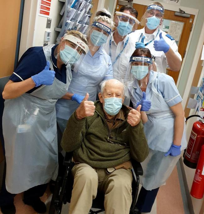 Centenarian Keith with staff at Ward 12 at the Alexandra Hospital in Redditch
