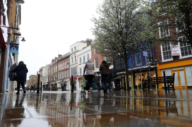 LOCKDOWN: Worcester High Street in March. Picture: David Davies/PA Wire
