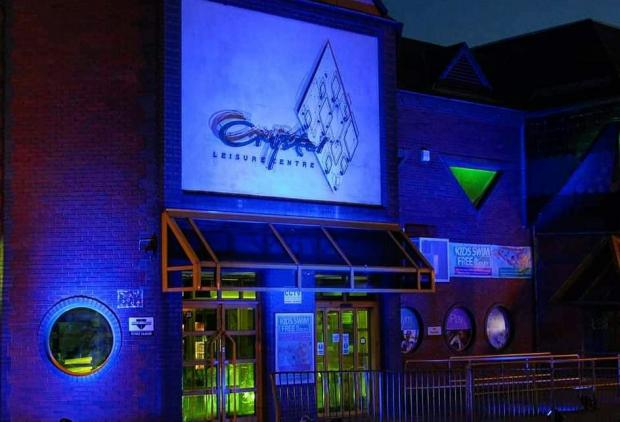 Dudley News: The Crystal Leisure centre lit up for carers. Pic courtesy of Sally Shillingford