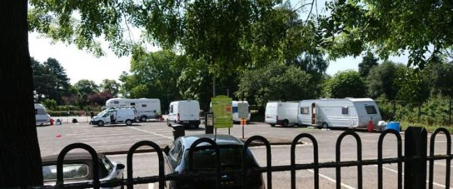 Travellers in the Tybridge Street car park in Worcester