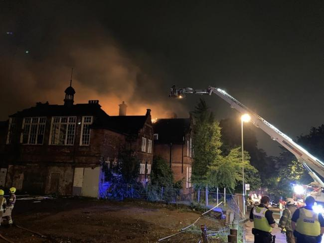 The fire at the former school in Dudley. Pic - West Midlands Fire Service