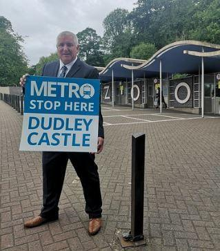 Leader of Dudley Council, councillor Patrick Harley outside Dudley Zoo, near to where the Metro stop will be located.