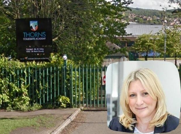Thorns Collegiate Academy which is set for a £418m boost, and Suzanne Webb MP (inset)