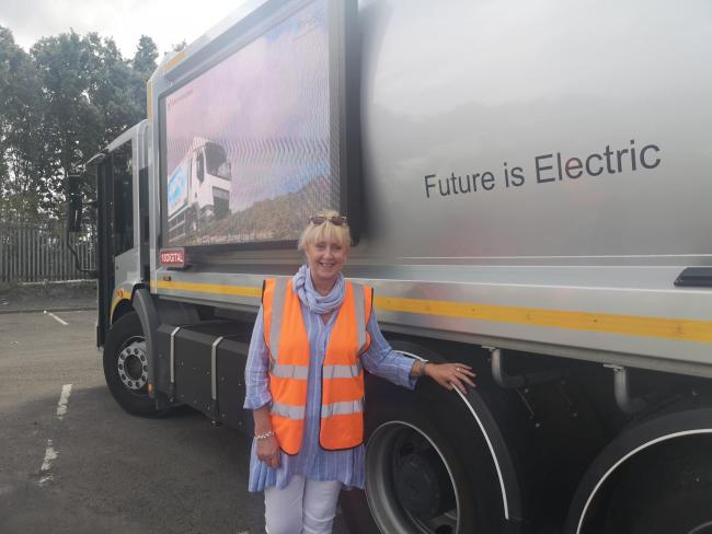 Cllr Karen Shakespeare with the new bin lorry