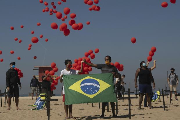 Balloons being released on Copacabana Beach