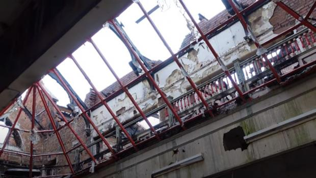 Dudley News: The wrecked old school building. Still from video by Ian Macey