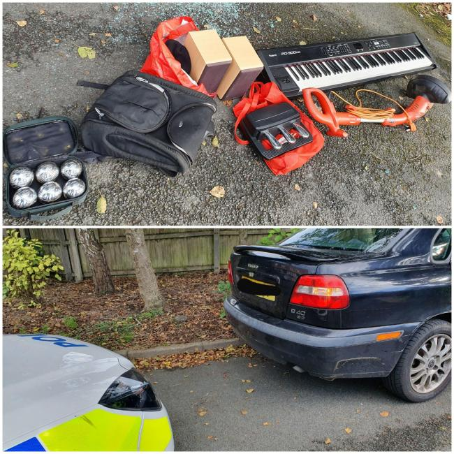 Some of the items recovered, and the car that was found abandoned. Pic - West Midlands Police