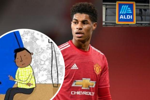 Dudley News: Marcus Rashford has teamed up with Aldo to help tackle child poverty. (PA/Aldi/Canva)