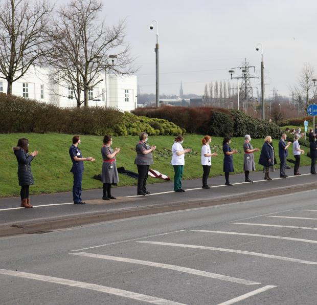 Dudley News: Staff line the street outside Russells Hall Hospital in memory of Julie Jones