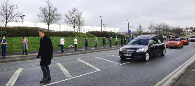 Dudley News: Staff lined the street as the funeral procession for Julie Jones went past the hospital where she worked