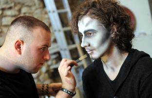 Shaun Crompton aged 23, gets his ghoulish good looks done by professional theatrical make-up artist Ryan Hesford.