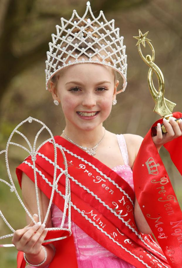 Alexia Bates (10) wearing her specially made pageant dress with her