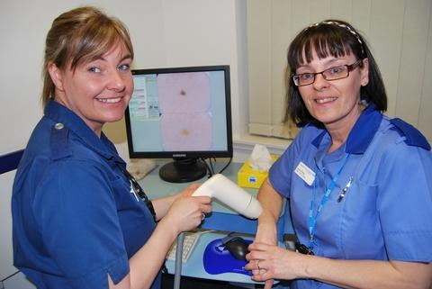 Skin Oncology  nurses Tracy Beese and Linda Pallett.
