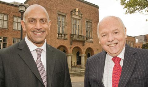 Cllr Shaukat Ali (Labour deputy leader) and council leader-elect cllr David Sparks OBE at Dudley Council House where they have taken control from the Tories