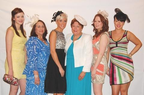 All the fashion: From left, Sophie Bird, of Solihull, Sandra Preston, Staffordshire, Laura Gardner, Solihull, Christine Hall, Solihull, Helen Clarke, Solihull and Leah Griffiths, Birmingham.