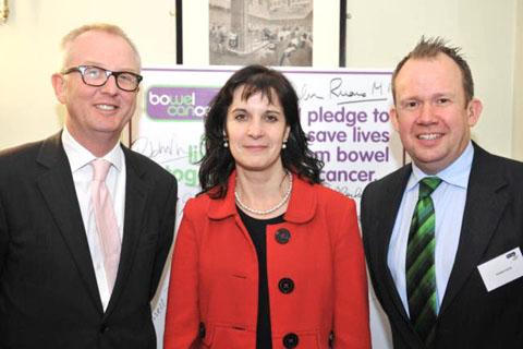 Andy Essom, MP Ian Austin and chief executive of Bowel Cancer UK, Deborah Alsina.