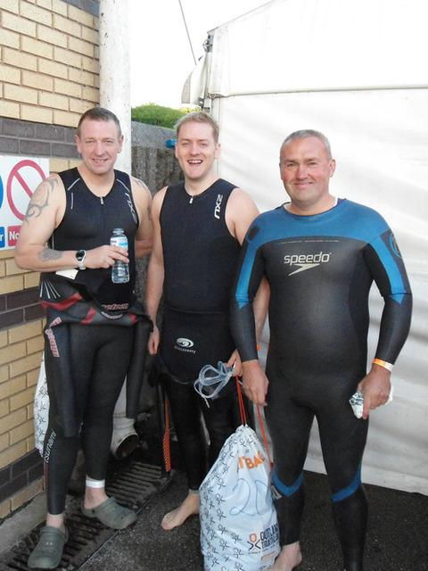 Matt Brown (centre) with friends Mark Woodhall (left) and Stuart Clifford (right) before the start of the Ironman.