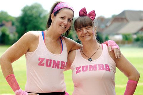 Zumba teacher Suzanne Richardson and mum Louise Palmer. Buy photo: 331210LA