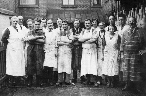 Ethel and Walter Knott (on the left) and their employees pose at the rear of their High Street premises in the 1930s.