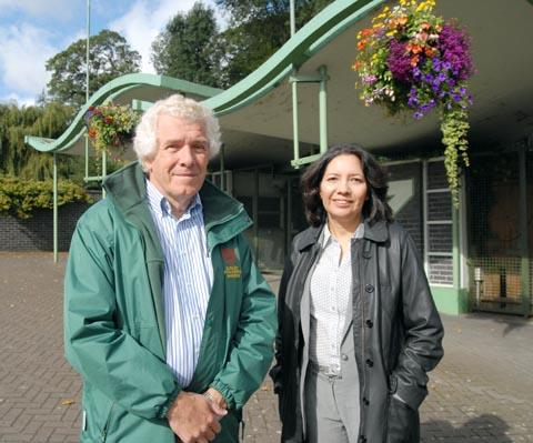 Dudley Zoo chief executive Peter Suddock with Reyahn King (Head Heritage Lottery Fund West Midlands). Buy photo: 391229M