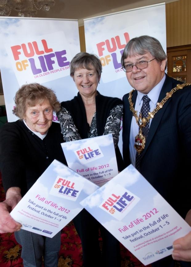 Joy Humpage, Sally Huband and The Mayor of Dudley, Councillor Melvyn Mottram