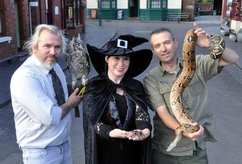 William Pincher, costumed guide Jane Stephens and John Conlan from Animal Antics with some spooky creatures