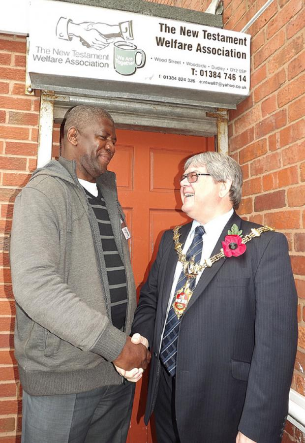 Councillor Melvyn Mottram, Mayor of Dudley, with Silbern Humphry Head of the New Testament Welfare Association.