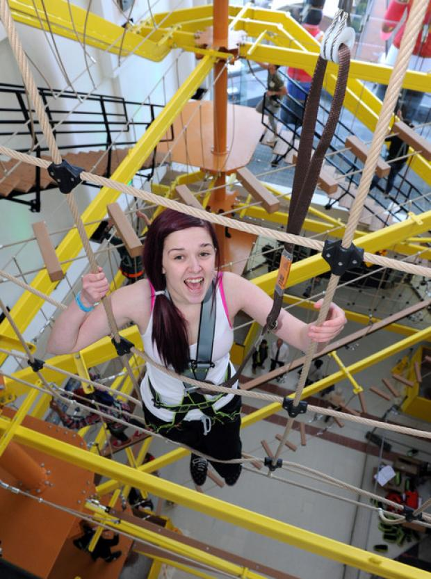 Fiona Butler tries out the new high ropes course at Merry Hill.
