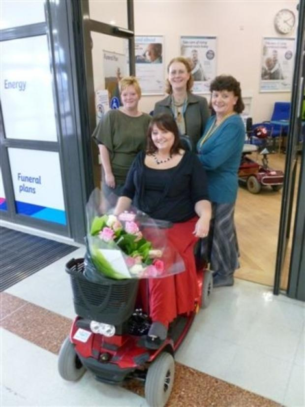 Vicky Raybould, Elaine Panchal and Cindy Williams all from Age UK Dudley with Kay Benbow