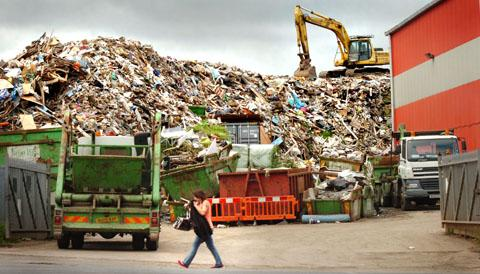 The waste pile pictured at RDF Ltd in June 2012.