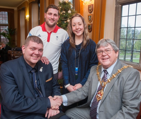 Paralympic shooter Richard Davies, Olympic water polo player Alex Parsonage and Paralympic pilot cyclist Helen Scott meet the Mayor of Dudley, Cllr Melvyn Mottram.