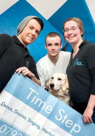 Dance instructor Matthew Lucas, martial arts instructor Connor Cooksey, Time Step Community Hub manager Vicky Parkinson and Hope the Guide Dog, who is owned by the founders of Dudley Centre for Inclusive Living. Buy photo: 511214MH