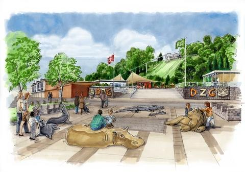 Artist impression of the new Dudley Zoo welcome plaza which was unanimously approved