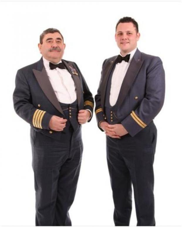 Group Captain Richard Allen and Flight Lieutenant Kieron Hosell at the annual dinner.Photo: JOHN VINEY