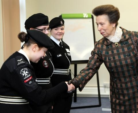 HRH The Princess Royal shakes hands with Jenny Littler