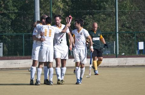 Old Hales celebrate another goal.
