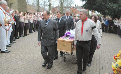 First Sedgley Scout Group forms a guard of honour to bid a final farewell to inspirational leader George Arthur Cox MBE
