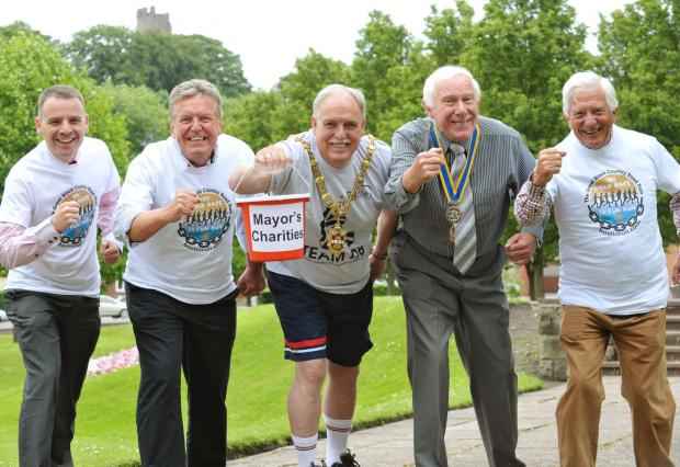 Councillor Alan Finch, Mayor of Dudley, with Halesowen and Rowley Regis Rotarians David Matty, Alan Bowler, Brian Maxfield and Barry Wheeler.